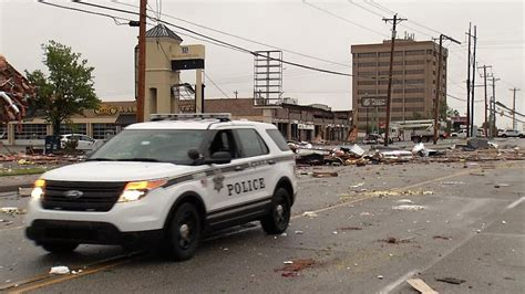 police step  patrols  tulsa tornado damage