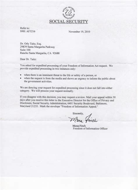 social security letter 11 08 10 letter from the social security administration
