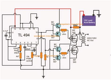 Simplest Pwm Modified Sine Wave Inverter Circuit Using