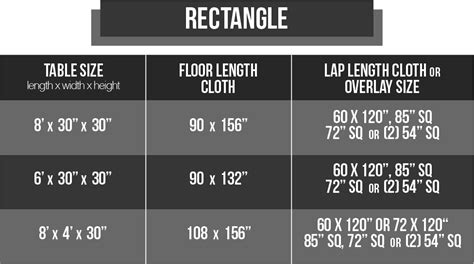sizing chart   catering tablecloth size chart