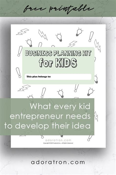 printable business planning kit  kids  images