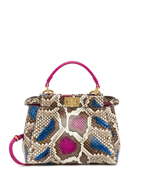 lyst fendi peekaboo mini multicolor python satchel