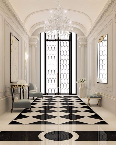 modern white floor l 10 dreamy interiors with black and white checkered floor