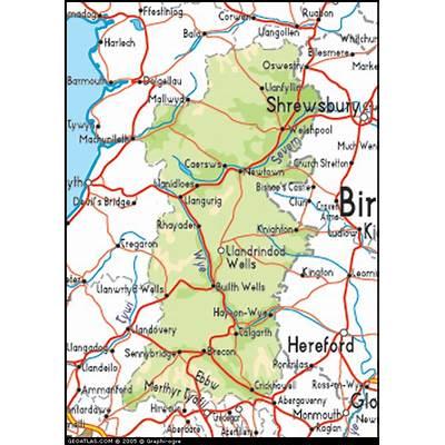 Map of Wales Powys UK Atlas