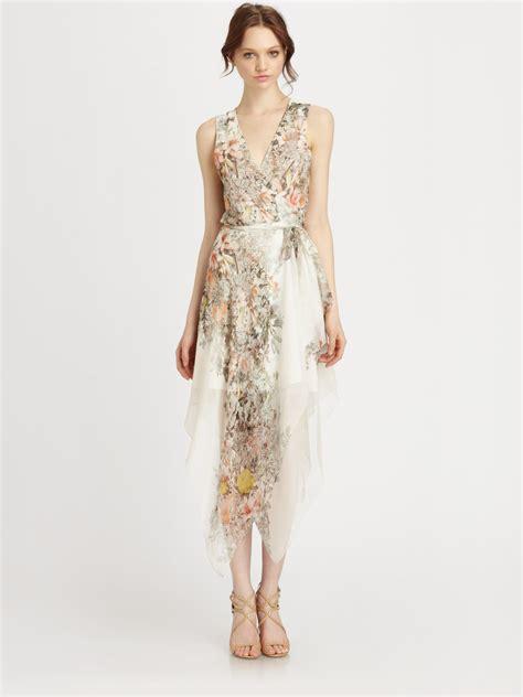 tie neck sleeveless dress lyst haute hippie silk chiffon floralprint wrap dress