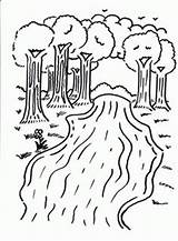 Coloring River Pages Printable Trees Kindergarten Camping Colouring Preschool Sheets Rivers Fun Printables Clouds Sun sketch template