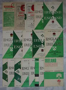 ENGLAND v IRELAND HOME AND AWAY RUGBY PROGRAMMES 1950 to ...