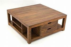 Table Basse Avec Tiroir : table basse palissandre carr e avec tiroirs ~ Teatrodelosmanantiales.com Idées de Décoration