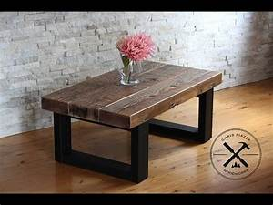 reclaimed wood coffee table with steel legs youtube With reclaimed wood coffee table metal legs