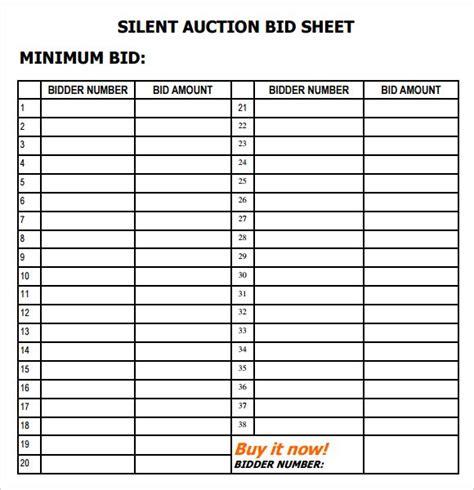 silent auction bid sheet templates