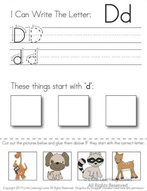 subscriber exclusive freebie letter d write cut paste writing activities in my class