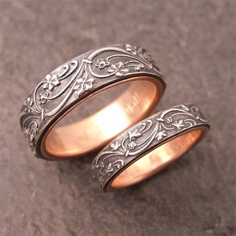 deco wedding band in sterling silver lined in 14k gold by domitrovich of