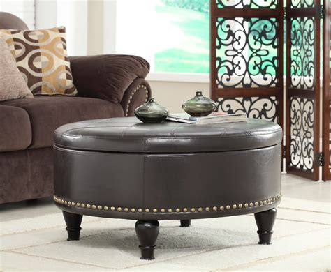 round black leather ottoman elegant living room with large round storage ottoman