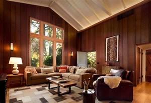fauteuil cuir marron pour rechauffer linterieur contemporain With tapis kilim avec canapé cuir et bois rustique