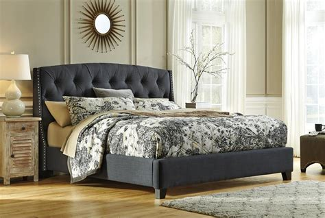 bedroom with grey upholstered headboard kasidon light gray king tufted upholstered bed by