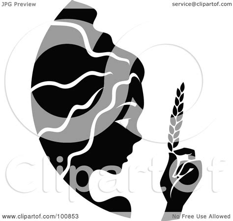 royalty free rf clipart illustration of a black and white virgo zodiac icon by