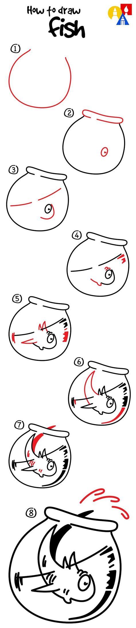 draw fish   cat   hat art  kids
