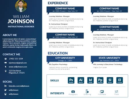 Visual Resume Templates by Free Powerpoint Visual Resume Template Mike