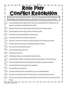 conflict resolution downloadable worksheet helpful