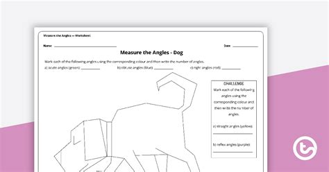 measure  angles worksheet dog teaching resource