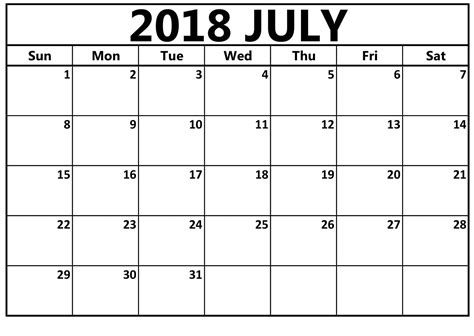 july calendar template july 2018 calendar a4 editable doc free templates