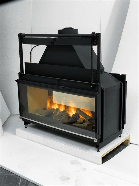 double sided wood burning fireplace insert  blower