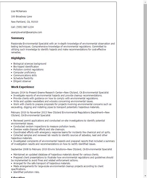 Post Resume by Professional Environmental Specialist Templates To