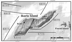 Ikaria Island Fault Map  Numbers Indicate The Expected