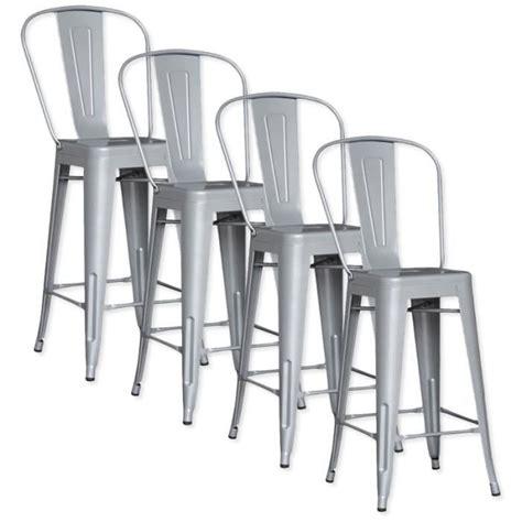 tabouret de bar lot de 4 lot de 4 chaises de bar m 201 tal loft laqu 201 gris achat vente tabouret de bar pas cher couleur
