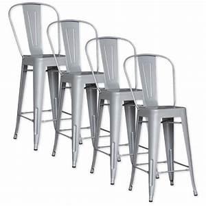 Chaise De Bar Metal : lot de 4 chaises de bar m tal loft laqu gris achat vente tabouret de bar pas cher couleur ~ Teatrodelosmanantiales.com Idées de Décoration