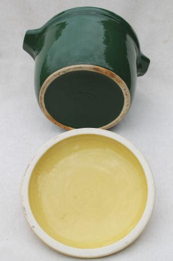 Bake Oven pottery bean pot in primary yellow & green, 40s