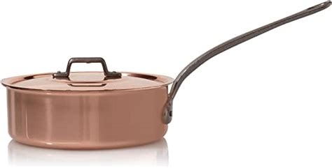 amazoncom baumalu high sided frying pan lid solid copper cm home kitchen