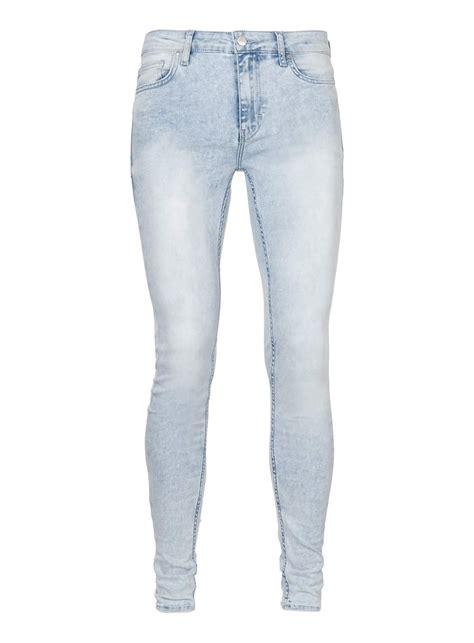 light wash skinny jeans mens topman light wash super spray on skinny jeans in blue for