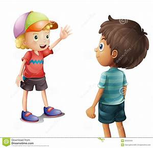 A boy waving at his friend stock vector. Illustration of ...