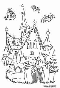 Bricolage Halloween Adulte : grande image le chateau hante un max de coloriages coloriage halloween dessin halloween et ~ Melissatoandfro.com Idées de Décoration