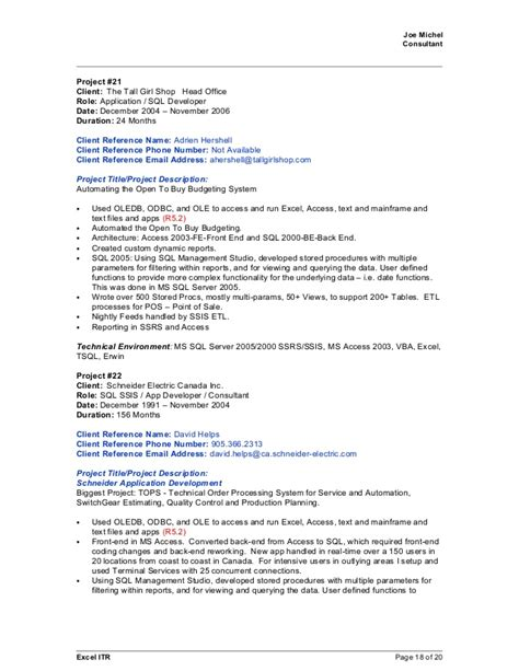 Ssrs Resume Responsibilities by Joe Michel 2015april09 Sql Crm Bi Resume With References For All