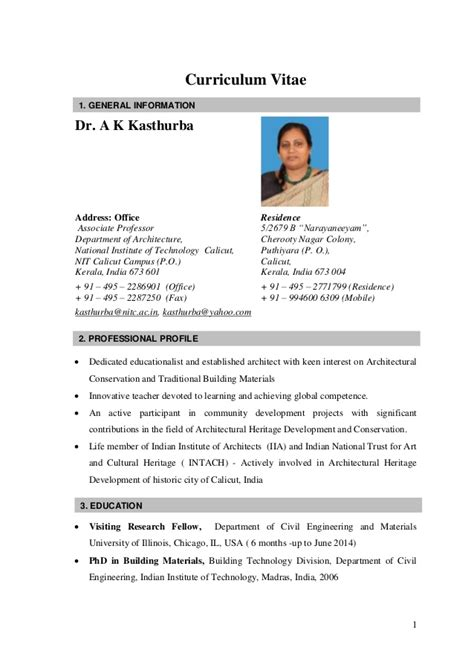 Teachers Resume Sles India by Cv Kasthurba Nitc India