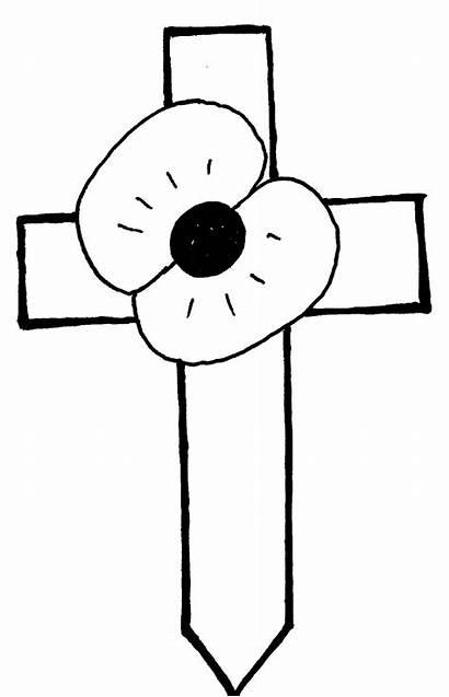Poppy Remembrance Cross Clipart Clip Outline Cliparts