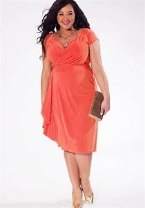 Plus size coral bridesmaid dresses pluslookeu collection for Plus size coral dress for wedding