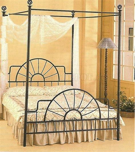 black wrought iron sunburst bed w canopy