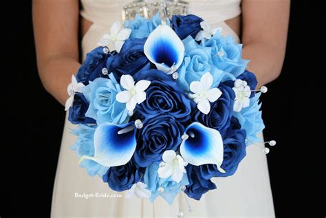 royal blue  light blue wedding flower package accented