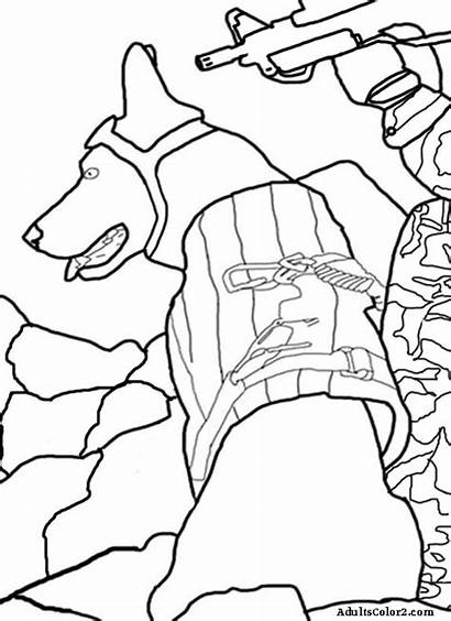 Coloring Dog Pages Navy Army Dogs Working