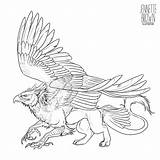 Griffin Template Lineart Deviantart Grifo Sugarpoultry Drawing Tattoo Griffon Potter Harry Mythical Drawings Desenho Tatuagem Animal Fantasy Sketch Para Salvo sketch template