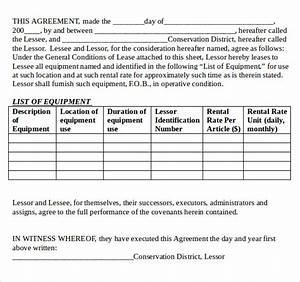 sample equipment lease agreement 11 free documents in With equipment lease document template