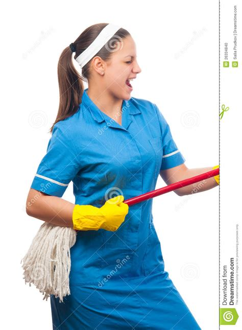 Beautiful Young Cleaning Lady Singing Stock Photo Image
