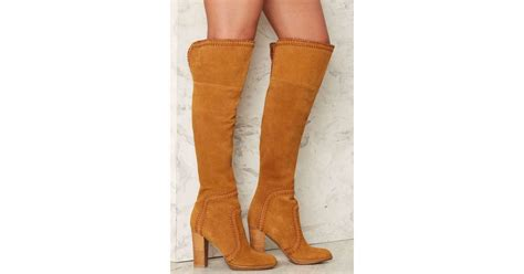 nasty gal whip  shape knee high suede boot  brown lyst