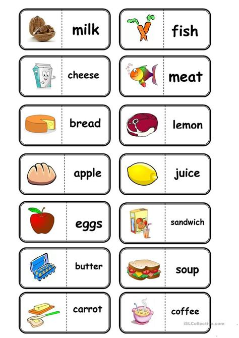 food domino  images english lessons  kids