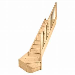 Escalier Quart Tournant Bas : escalier 1 qt primo sapin massif rampe fuseaux droits ~ Dailycaller-alerts.com Idées de Décoration