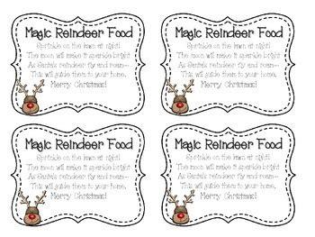 magic reindeer food labels  kookykinders teachers pay
