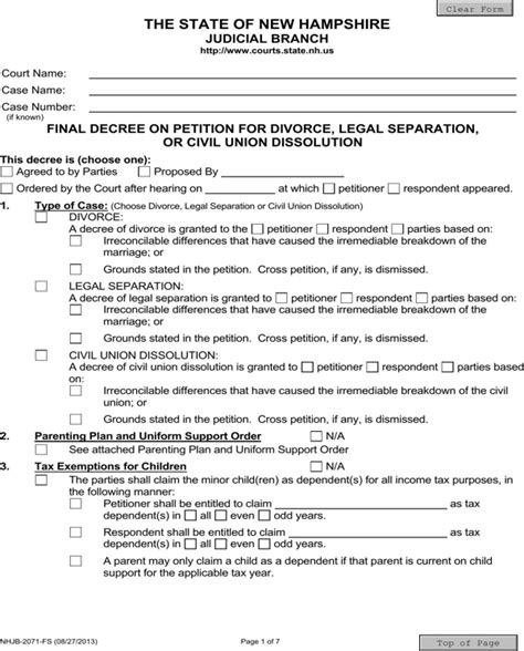 separation decree form download new hshire final decree on divorce or legal